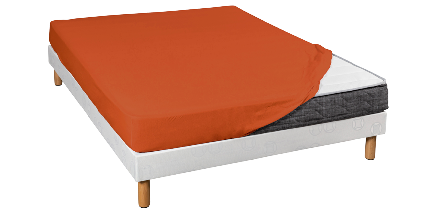 Drap housse jersey orange