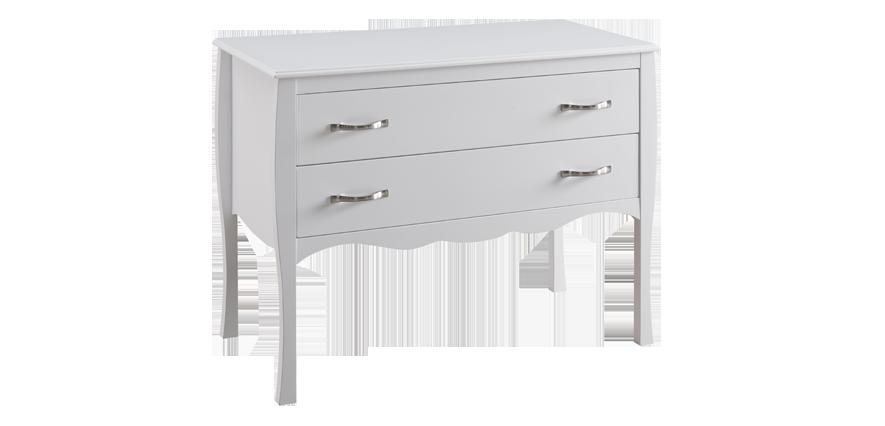 Commode 2 tiroirs bois blanc